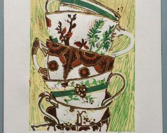Teacups Linocut Print (Artist's Proof)