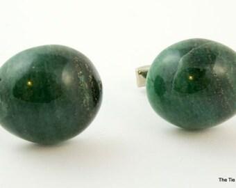 Vintage Cufflinks Green Aventurine Polished Stone Oval Cuff Links 1960s