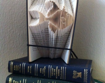 Book folding art pattern for a fish