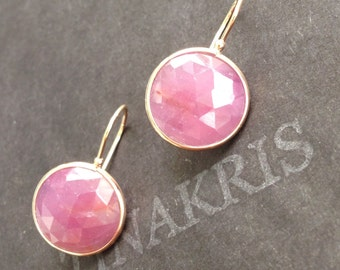 14k solid rose gold and pink rose cut natural sapphire earrings