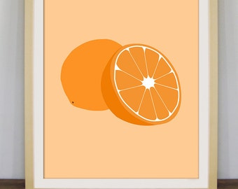 Orange art, fruit print, kitchen decor, orange poster, fruit art, contemporary art
