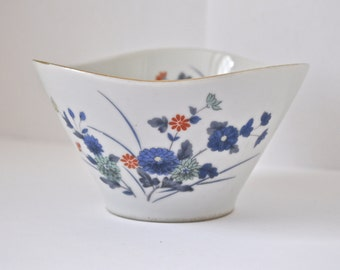 Blue and Orange Flower Small Rice Bowl Vintage OMC Otagiri Made in Japan