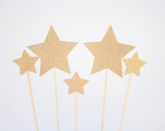 Gold Glitter Stars Cake Toppers - Set of 5-Birthday-Party Decorations