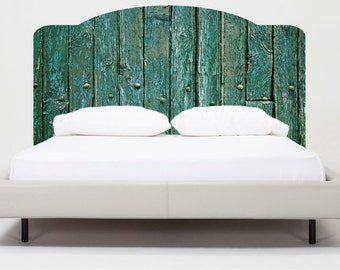 Rustic wood headboard wall decal rustic headboard wall mural for Mural headboard