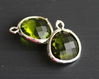 A2-000-R-DPD] Dark Peridot Green / 13 x 16mm / Rhodium plated / Glass Pendant / 2 pieces