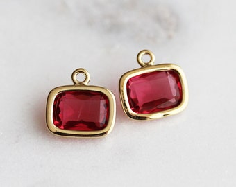 A2-057-G-RU] Ruby Red / 9 X 7mm / Gold plated / Rectangle Glass Pendant / 2 pieces