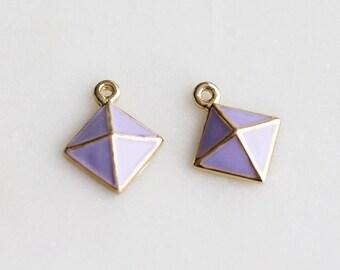 P1-469-G] Lilac Epoxy Diamond Pyramid / 11mm / Gold plated / Pendant / 2 piece(s)