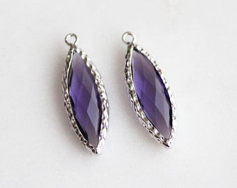 A2-148-R-AM] Amethyst / 10 x 25mm / Rhodium plated / Marquise Glass Pendant / 2 piece(s)