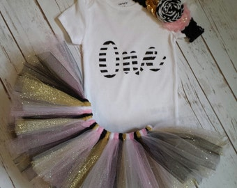 First Birthday Outfit, Tutu Outfit, One Onesie, Baby Outfit