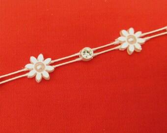 Stunning Crystal Beaded Rhinestone Diamante Ribbon Trim Bridal Wedding Chain- Pearl 0828