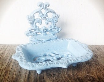 Business card holder soap dish / french country / bathroom office decor / business card stand / Victorian shabby chic / soap tray