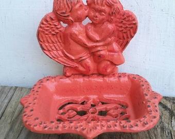 Kissing cherubs business CARD HOLDER soap dish / ornate angels / bathroom office decor / shabby chic / angel soap dish / cherub soap dish