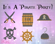 Pirate Party Layered Cutting File Set in Svg, Eps, Dxf, and Jpeg for Cricut amd Silhouette with Skull Flag Barrel Hat Hook Crossbones