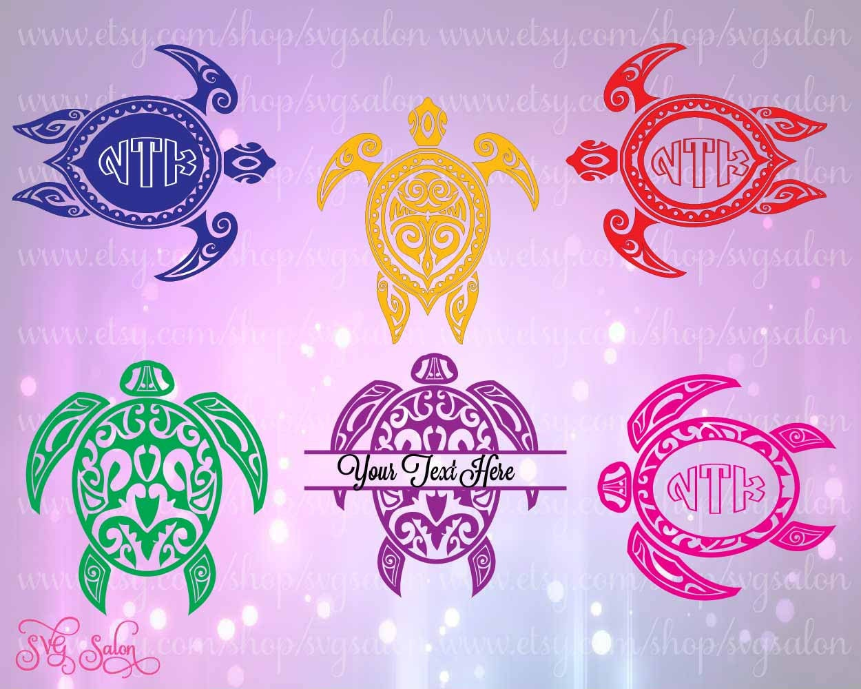 Download Sea Turtle Monogram Cutting File Set in Svg Eps Dxf by ...