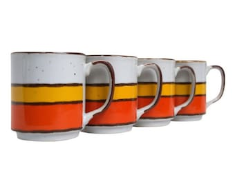 SALE! Set of Four Vintage Orange & Yellow Striped Hearthside Buffet Ware Ceramic Coffee Cups with Orange Metal Mug Tree / Display Stand