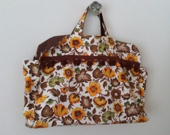 70's purse, cotton purse, floral purse, pom pom purse, yellow purse,  summer purse, tote bag