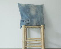 light blue -  recycled - pathwork - jeans - pillow cover - cushion - with white stars