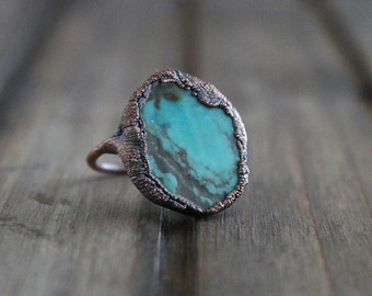 Turquoise Electroform Copper Statement Ring | Size 5