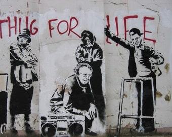 BANKSY Thug For Life STRETCHED & FRAMED Canvas Art Print Small/Medium/Large/Xtra Large/Xxl/Mega