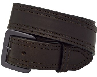 "Full Grain Leather 1-1/2"" Work and Gun Belt, Double Row Stitched. Dark Brown  Made in the USA  (#1224)"