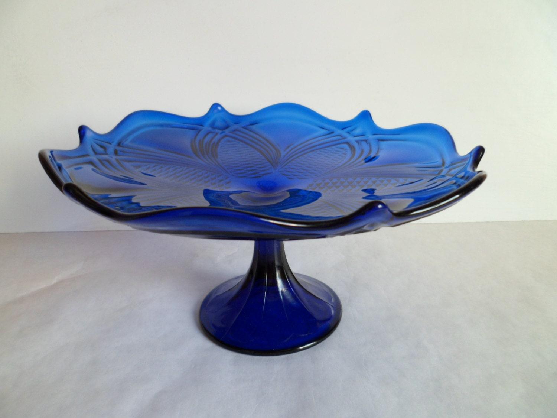 Vintage cobalt blue glass dish pedestal footed cake