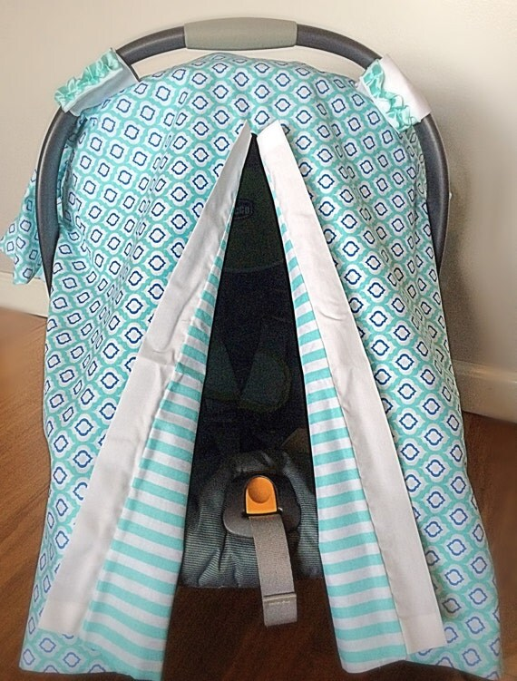 aqua car seat cover car seat canopy infant carrier cover gender neutral baby baby gifts. Black Bedroom Furniture Sets. Home Design Ideas
