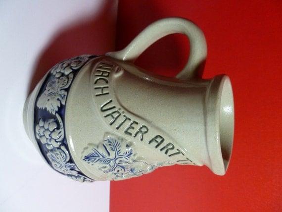 Original KIng Stoneware From Western Germany Water Pitcher Stein