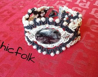tormaline  quartz micromacrame bracelet