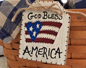 God Bless America Basket Tag, 4th of July Decorations, Patriotic Wood Tags, Rustic American Flag, Primitive Americana Decor, TOSCOFG