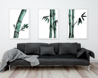 Bamboo wall art, Bamboo print set, watercolor bamboo painting, nature art