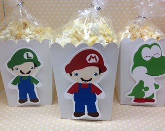 Nintendo Super Mario Brothers Party Popcorn or Favor Boxes - Set of 10