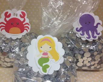 Under The Sea Party Candy or Favor Bags with Tags - Set of 10