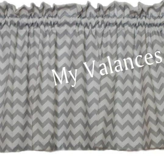 Grey Chevron curtain valance. Matching panels and throw pillow