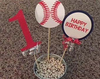 Baseball Birthday Party Decoration, Baseball Centerpiece or Baseball Cake Topper, Baseball Party-Set of 3 Pieces