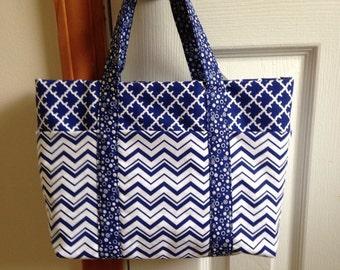 navy purse navy handbag fabric purse fabric handbag small tote handmade