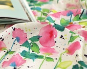 Fabric Linen 55inch watercolor pink floral Fabric by the yard #42