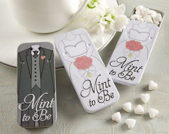 Mint to Be, White and Black Mint Wedding Favor Tins or Bridal Shower Favor Tins (1) Bride and Groom