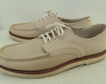 Mens Vintage 40's,Biege Colored Leather BOAT SHOES By Russell Moccasin.10A