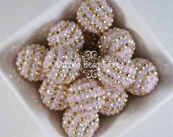 22mm Light pink/gold STRIPE resin RHINESTONE bling beads