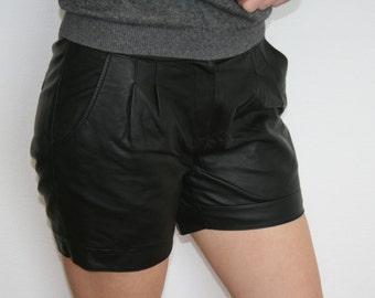 Black Faux Leather Shorts High Waisted Womens Shorts Medium Size