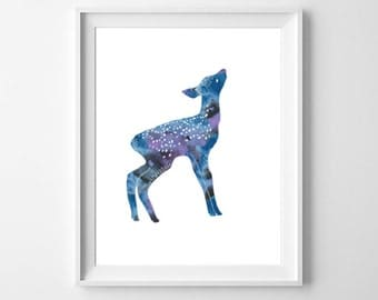 Fawn Art Print, Printable Nursery Art, Watercolor Deer, Woodland Animals, Kids Room Art