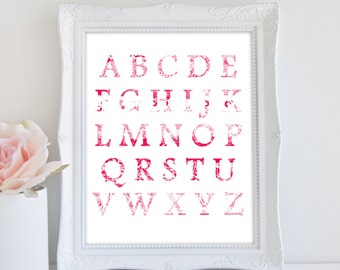 Nursery Print, Instant Download, Alphabet Print, Baby Girl Nursery Art, Letter Art, Kids Room Print
