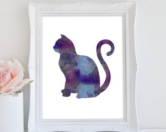 Cat Print, Instant Download, Watercolor Cat, Cat Decor, Printable Art, Cat Silhouette