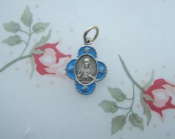 Sacred Heart of Jesus vintage blue enamel Scapular Catholic pendant medal