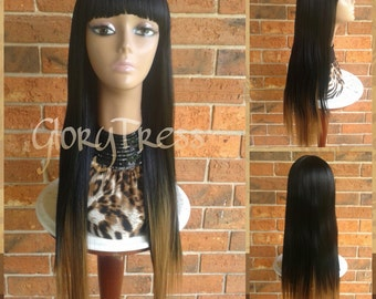 ON SALE // Nicki Minaj Inspired China Bangs Full Wig, 100% Human Hair Blend Wig,  Long & Straight Ombre Blonde Wig // EGYPT(Free Shipping)