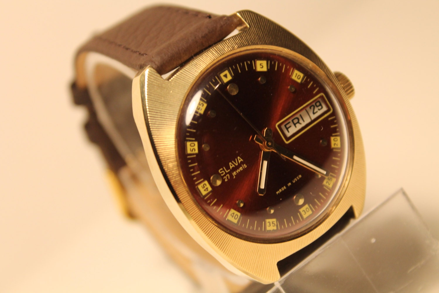 Wrist watch slava automatic 27 jewels movement double for Auto movement watches