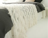 Ivory Fringes Sheer Bed Runner Decorative Mesh Zigzag Fringes Bed Runner Accent Bed Scarf Customized Bed Runner Personalized Bed Scarf