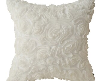"""Lovely White Floral Embellished Square Throw Pillow Cover Cushion 18"""" X 18"""""""