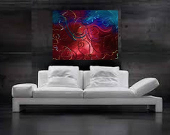 Ciel orageux: Abstract painting 54x40 1/2 595 CAD