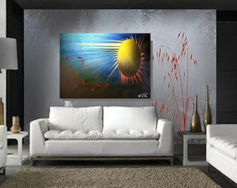 Soleil Joyeux: abstract painting for 425 dollars CAD.